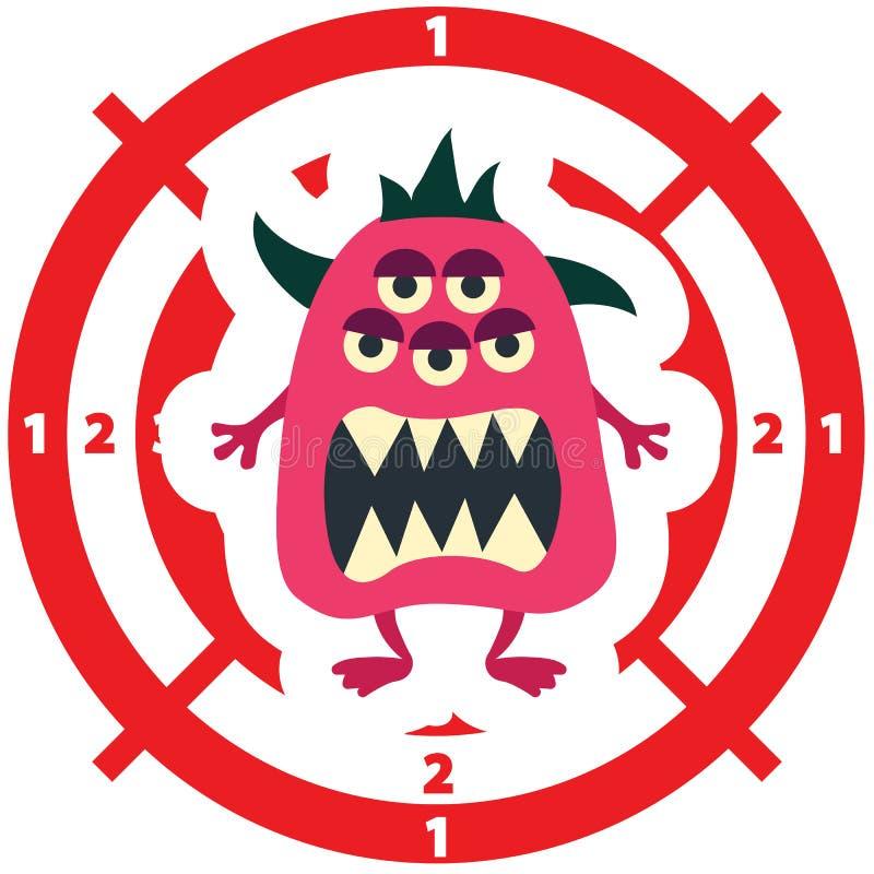 Cible avec la couleur plate de rose de style de monstre illustration stock