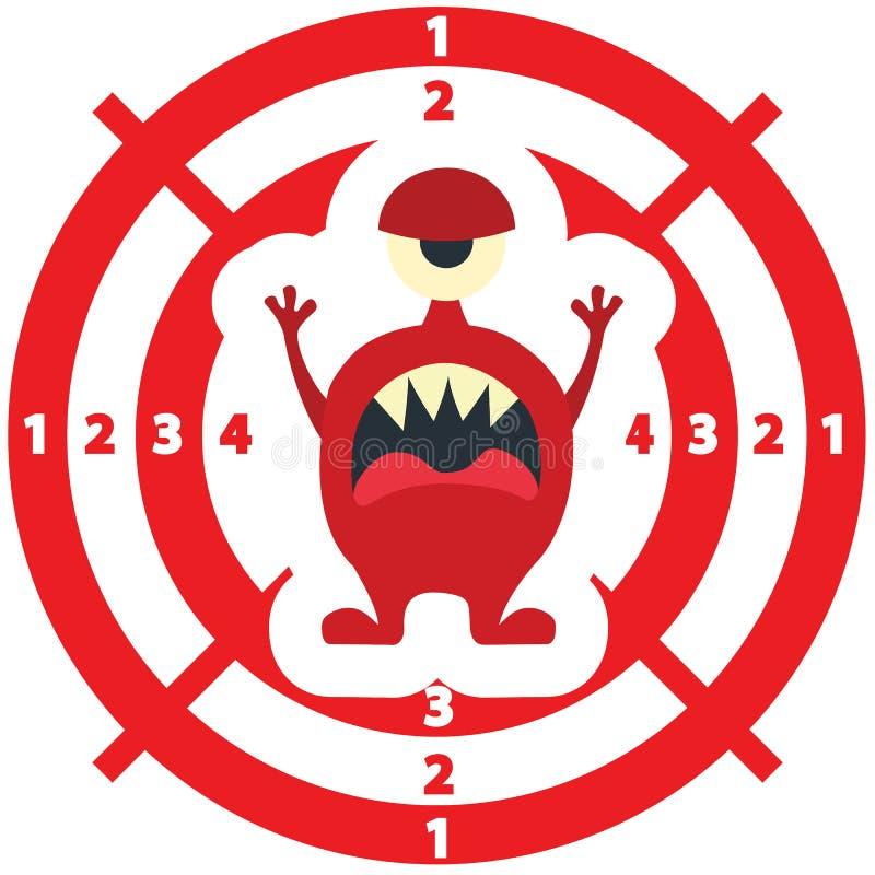 Cible avec la couleur rouge de style plat de monstre illustration libre de droits