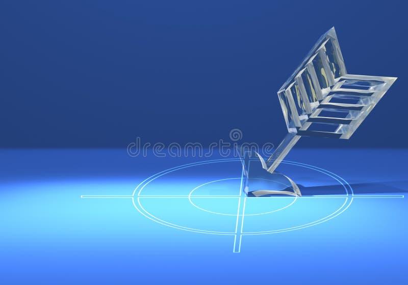 Cible avec la flèche en verre images libres de droits