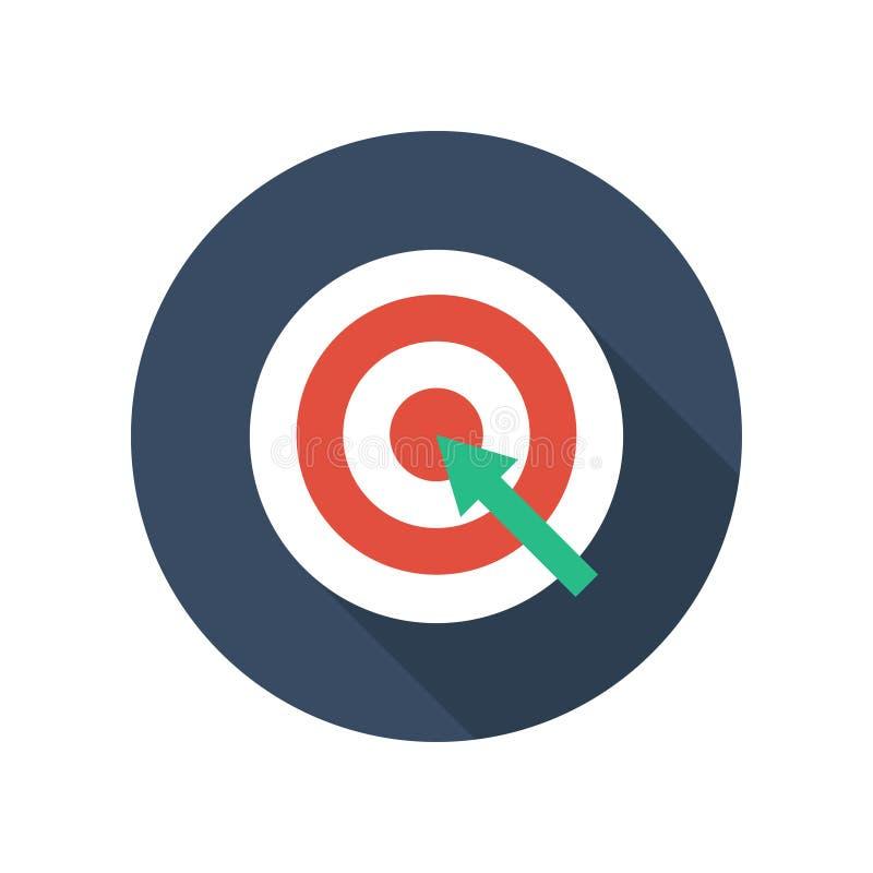 Cible avec la flèche sur l'icône plate de trépied Les affaires futées de but réalisent illustration libre de droits