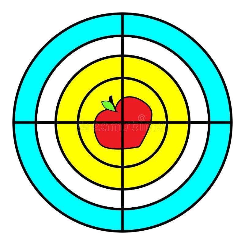 Cible avec la pomme, pour un trépied Le but réalisent le concept Illustration de vecteur d'isolement sur le fond blanc illustration libre de droits