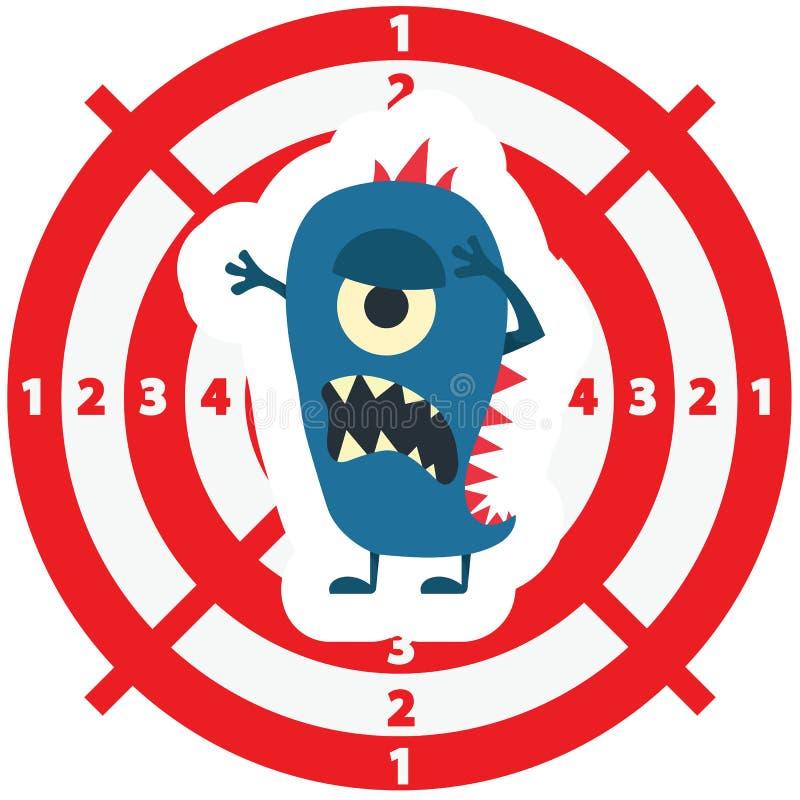 Cible avec le style plat de monstre bleu sur le fond blanc pour le chil illustration de vecteur
