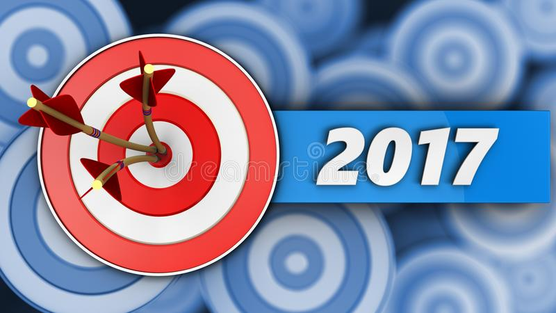 cible 3d avec le signe de 2017 ans illustration libre de droits