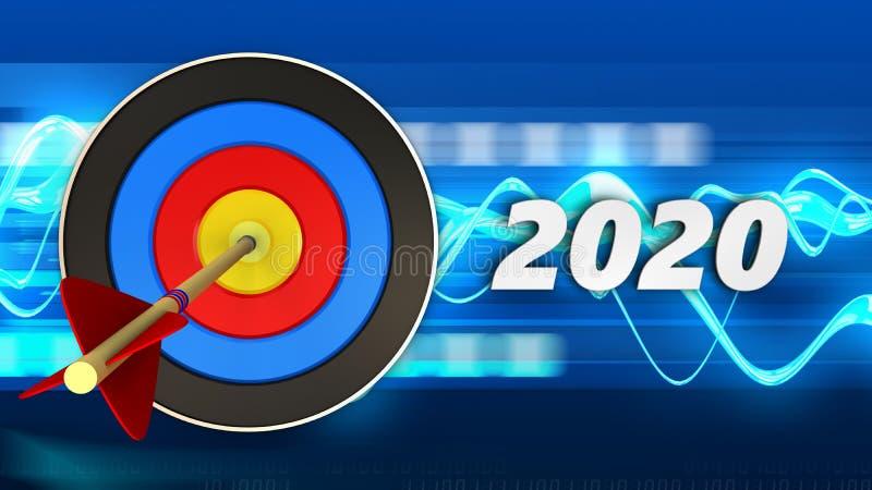cible 3d avec le signe de 2020 ans illustration libre de droits