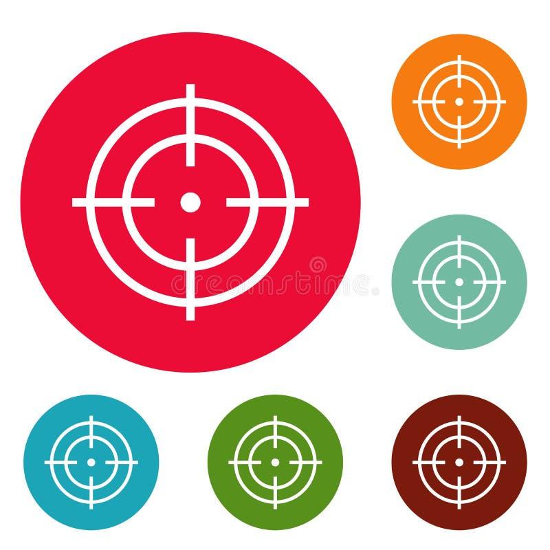 Cible d'ensemble de cercle d'icônes de sportif illustration de vecteur