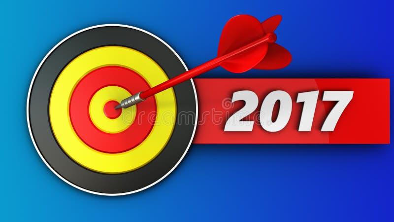 cible 3d ronde avec le signe de 2017 ans illustration de vecteur
