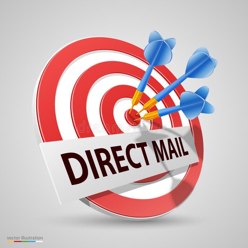 Cible de courrier direct, icône de dard, illustration de vecteur illustration de vecteur