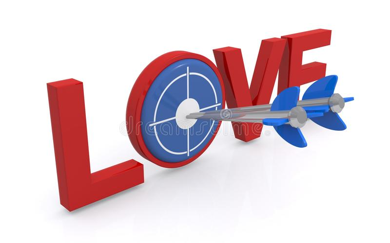 cible de l'amour 3d avec des flèches dans la cible illustration libre de droits
