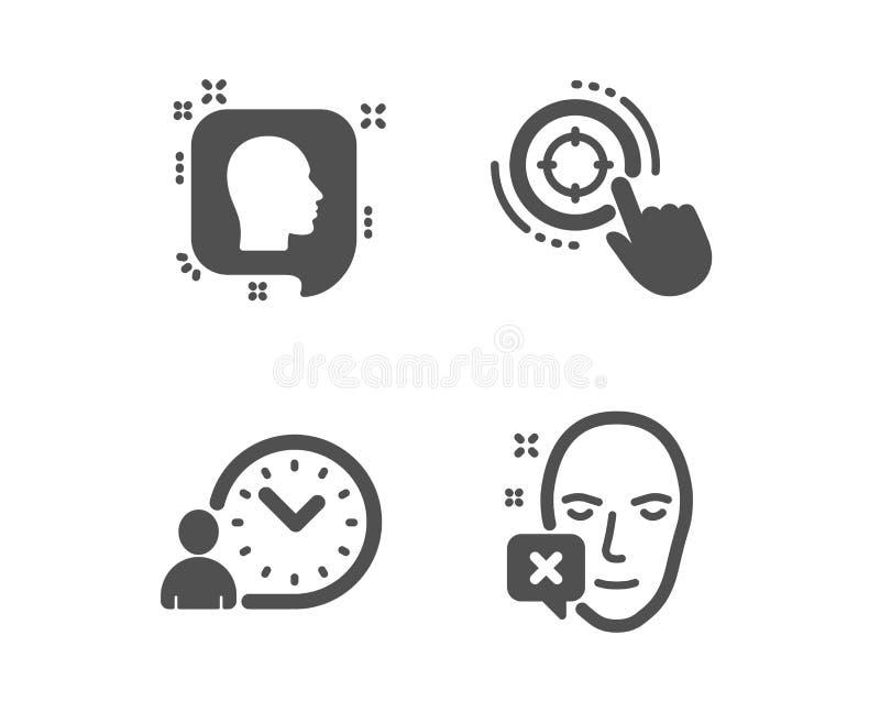 Cible de Seo, icônes de gestion du temps de tête et Signe diminué par visage Cliquez sur le but, messages de profil, temps de tra illustration stock