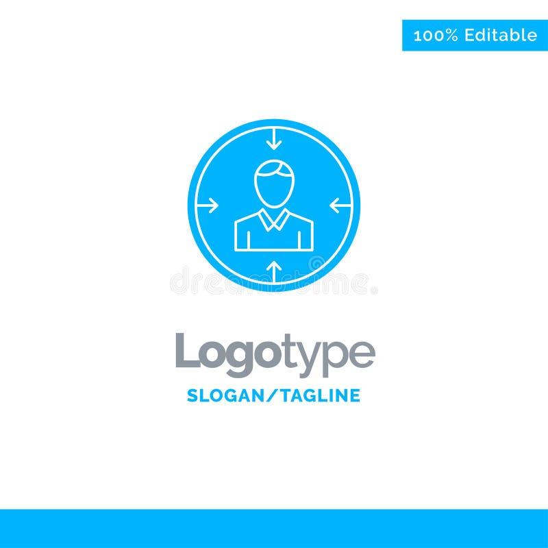 Cible, employé, heure, chasse, personnelle, ressources, résumé Logo Template solide bleu Endroit pour le Tagline illustration stock