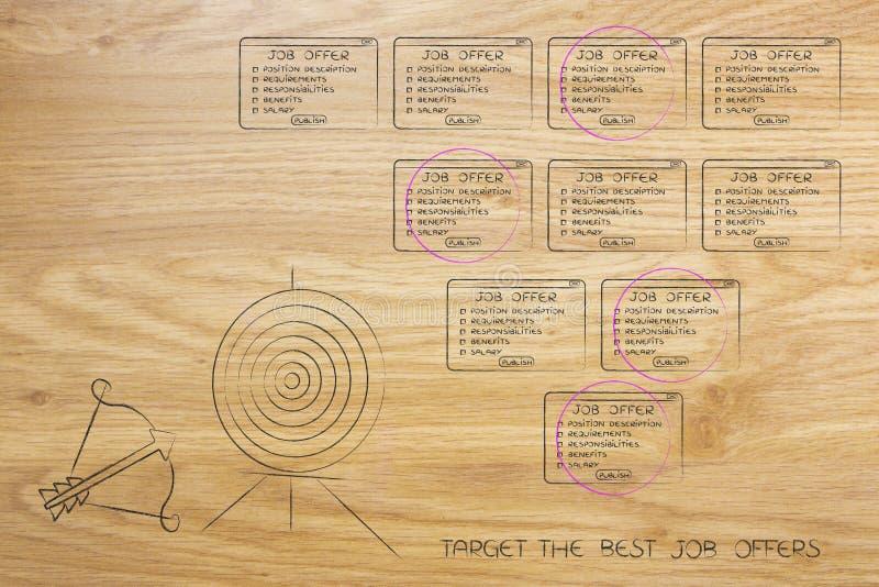 Cible et flèche à côté de la sélection des offres d'emploi dans un groupe illustration de vecteur