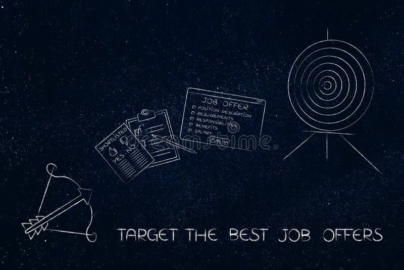 Cible et flèche avec l'offre d'emploi et la liste succincte dans l'intervalle illustration libre de droits