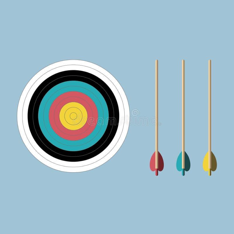 Cible et flèches de tir à l'arc de couleurs en pastel illustration stock