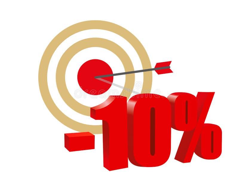 Cible flèche Remise dix pour cent Illustration de vecteur illustration de vecteur