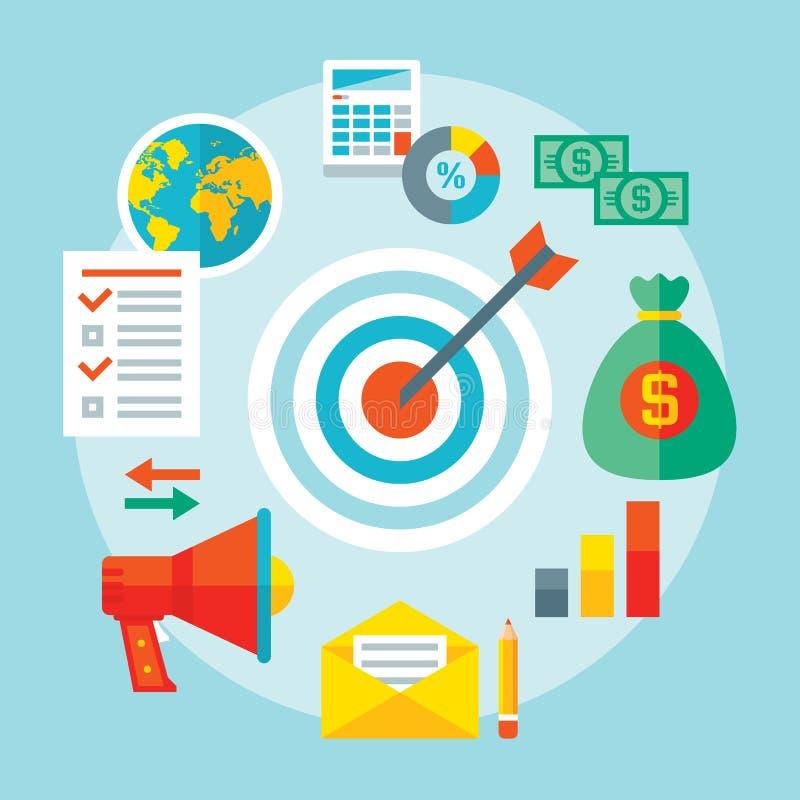 Cible - illustration de vecteur dans le style plat de conception Bannière de concept de stratégie commerciale Disposition créativ illustration stock