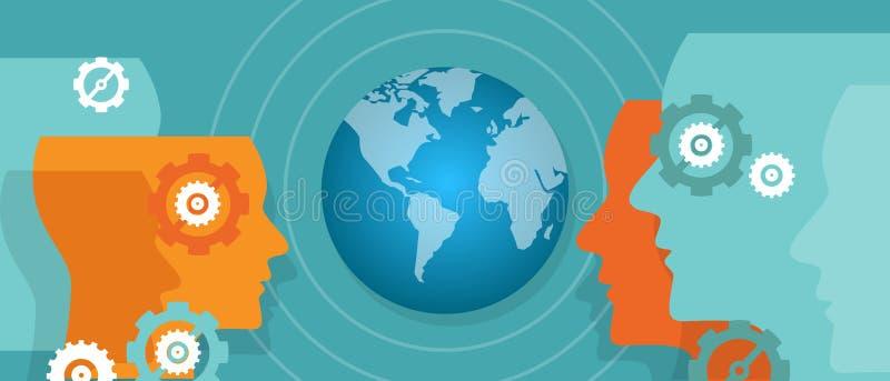 Cible mondiale de vue du monde de carte de vision de chef global de mondialisation illustration libre de droits