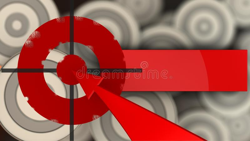 cible peinte par 3d avec la flèche rouge illustration stock