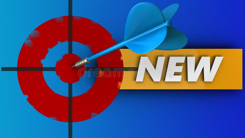 cible peinte par 3d avec le nouveau signe illustration de vecteur