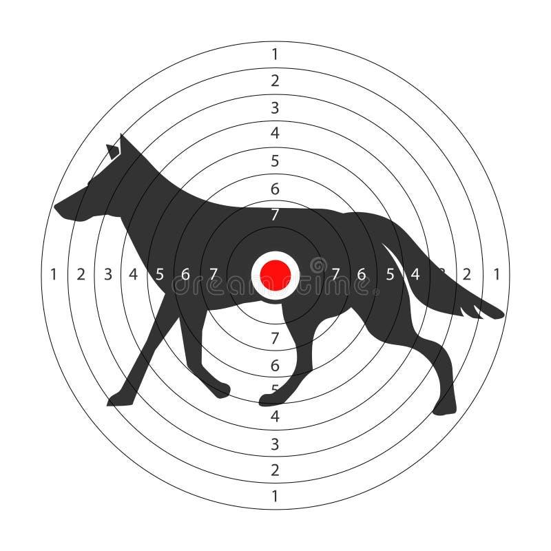 Cible pour la galerie de tir avec la silhouette sauvage de loup illustration libre de droits