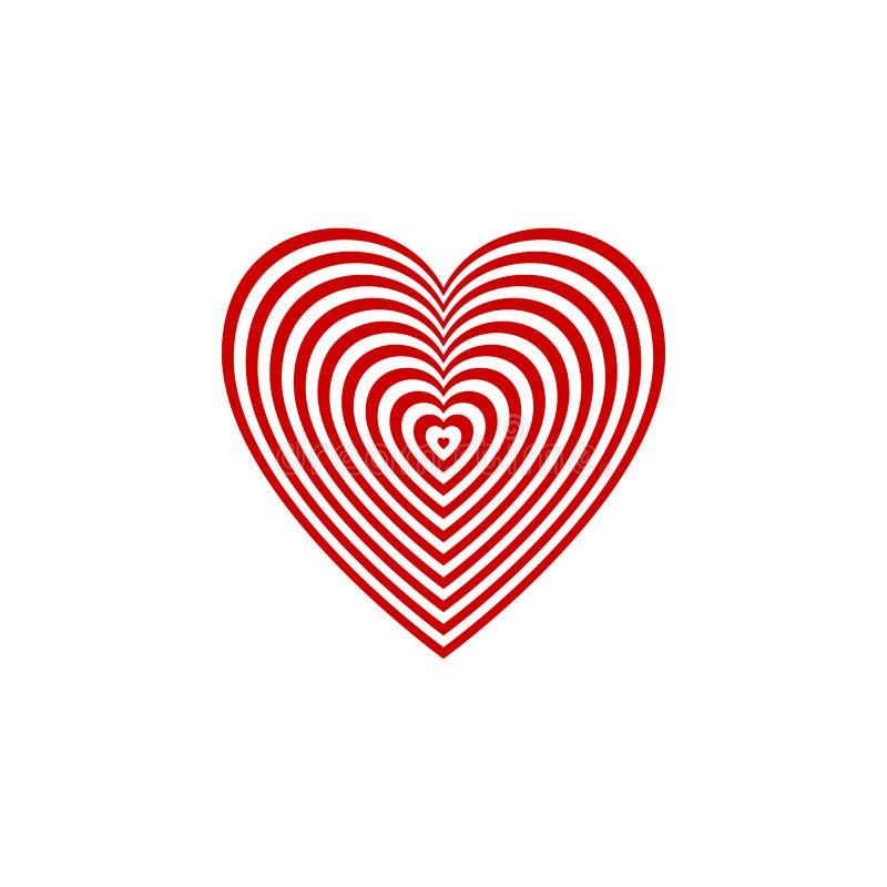 Cible rouge de coeur sur le fond transparent Illustration de vecteur Symbole de but illustration stock