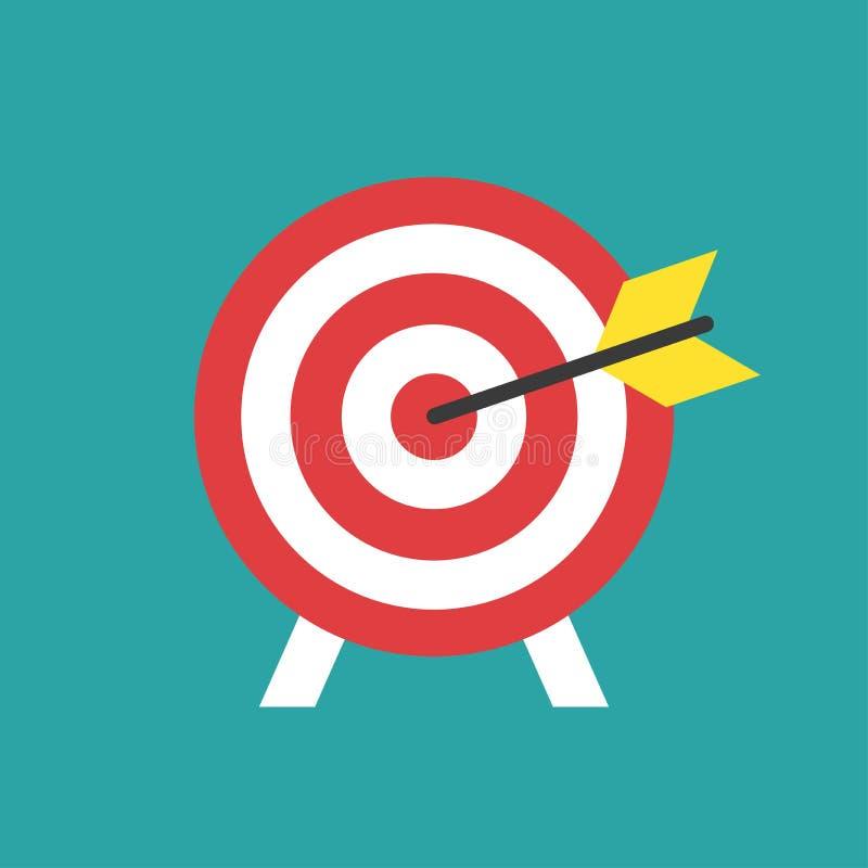 Cible rouge de tir ? l'arc avec l'ic?ne de fl?che d'isolement sur le fond bleu Illustration de vecteur de cible illustration libre de droits
