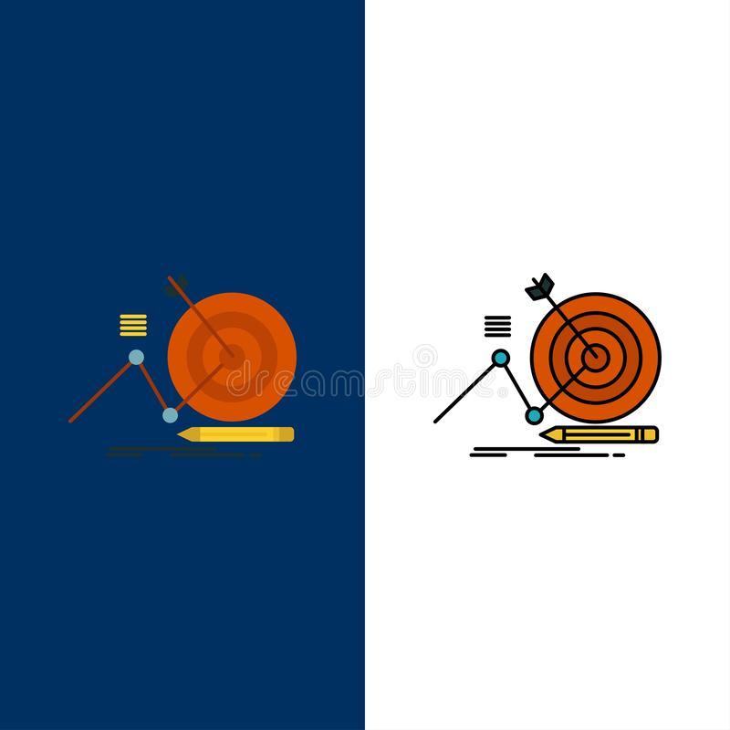 Cible, succès, but, icônes de foyer L'appartement et la ligne icône remplie ont placé le fond bleu de vecteur illustration de vecteur