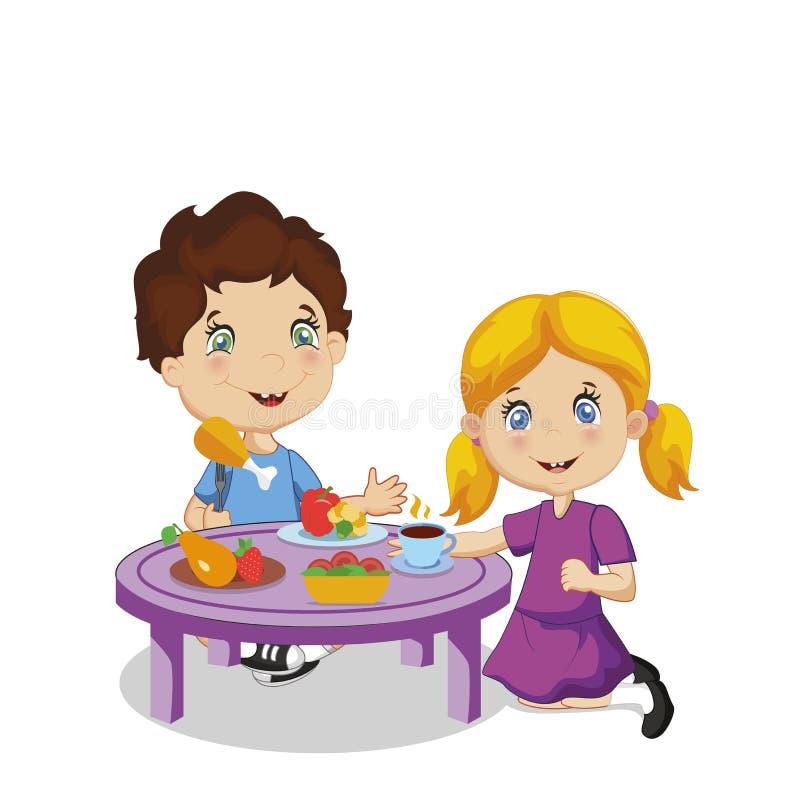 Cibo dei bambini Ragazzo e ragazza del fumetto che si siedono alla Tabella illustrazione vettoriale