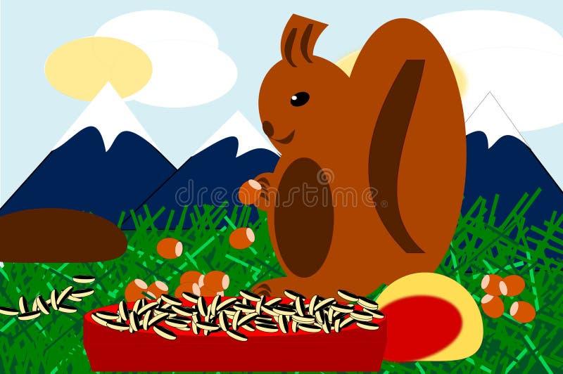 Cibo dello scoiattolo con le nocciole, i semi ed i frutti royalty illustrazione gratis