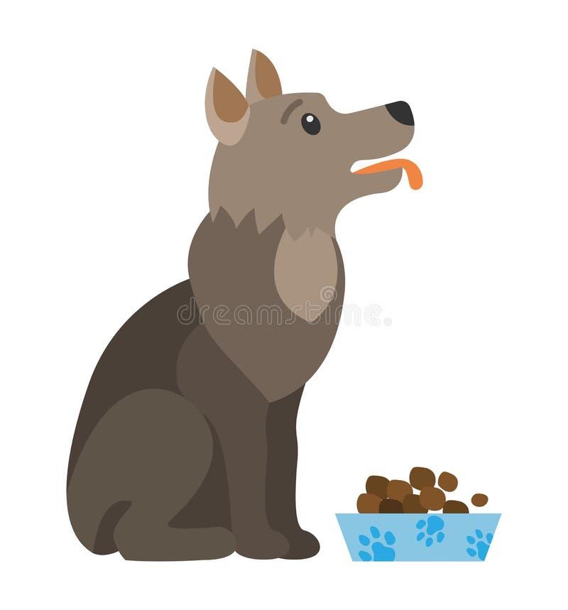 Cibo Di Cane Mangiato Dal Canino Cartoonico Isolato Dal Bowl royalty illustrazione gratis