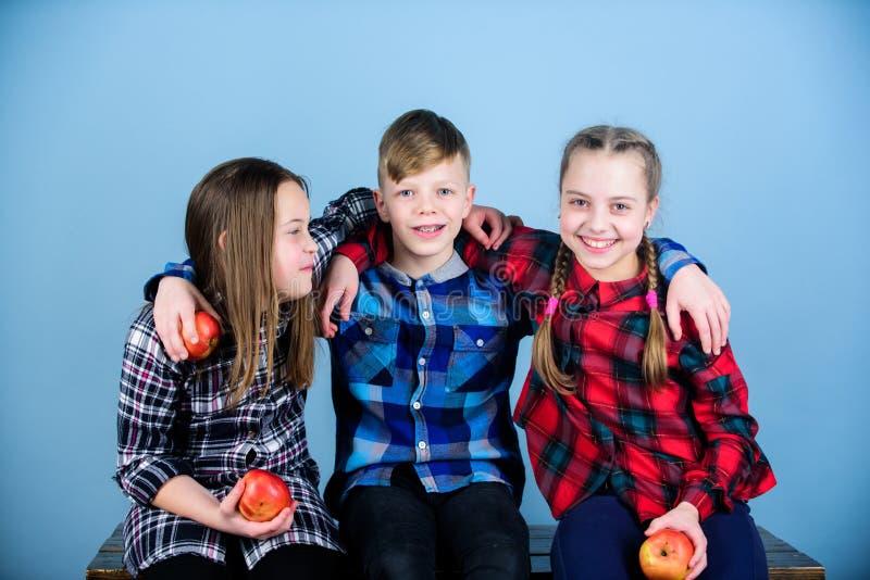Cibo frutta e della salute dei bambini dei benefici delle verdure Piccoli bambini svegli che tengono le mele rosse Apple è un ali fotografie stock