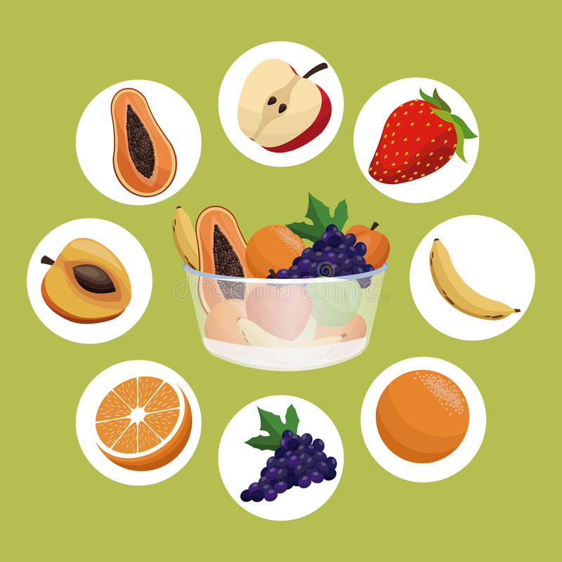 cibo sano di dieta della ciotola di frutta illustrazione di stock