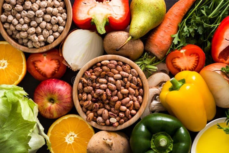 Cibo sano dieta mediterranea Frutta e verdure fotografie stock