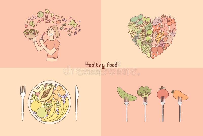 Cibo sano, frutta e verdure pasto, donna che cucinano l'insalata delle verdure, dieta vegetariana, vitamine ed insegna di nutrizi royalty illustrazione gratis