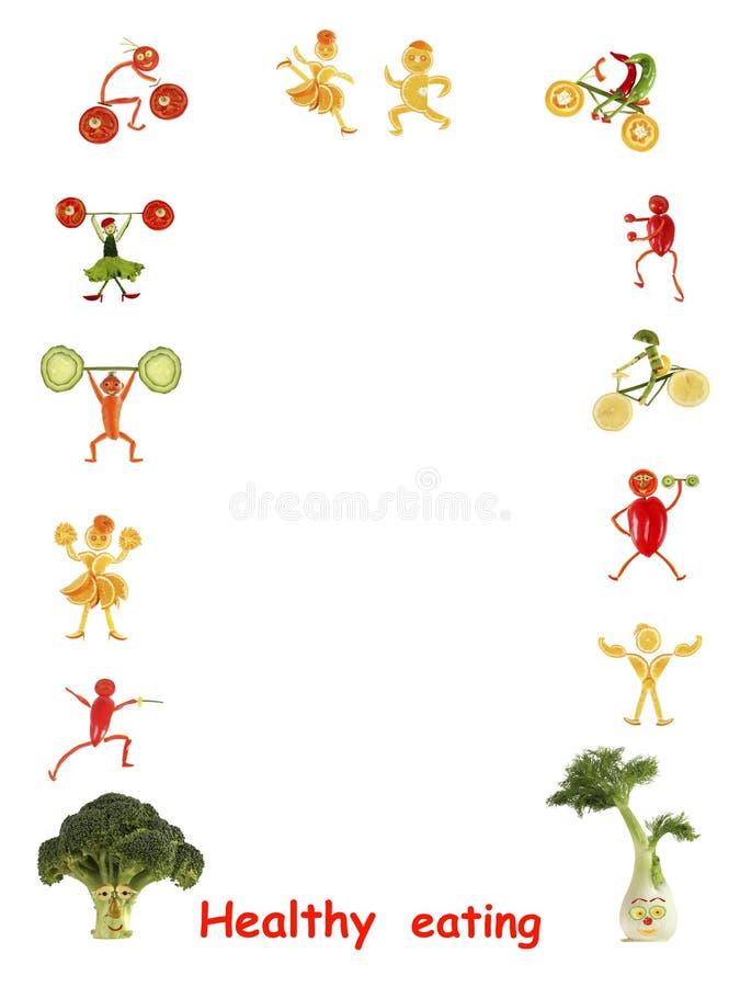 Cibo sano Gente divertente piccola fatta delle verdure e della frutta illustrazione di stock