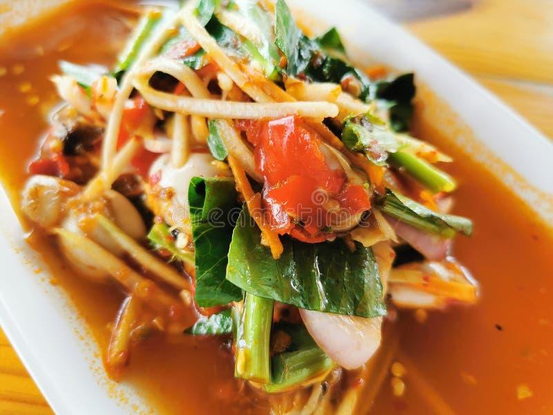 Cibo thailandese, ostrica, insalata piccante fotografia stock
