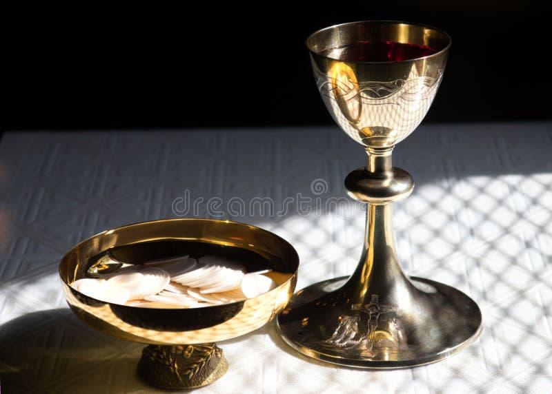Ciborium-chalice. Ciborium and chalice suitable for religious or catholic royalty free stock image