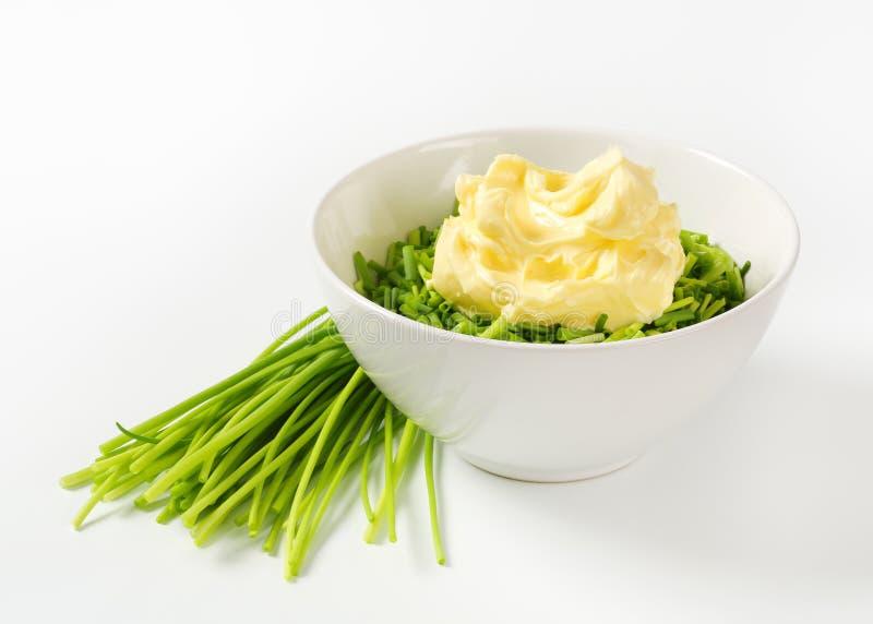 Ciboulette et beurre frais photo libre de droits
