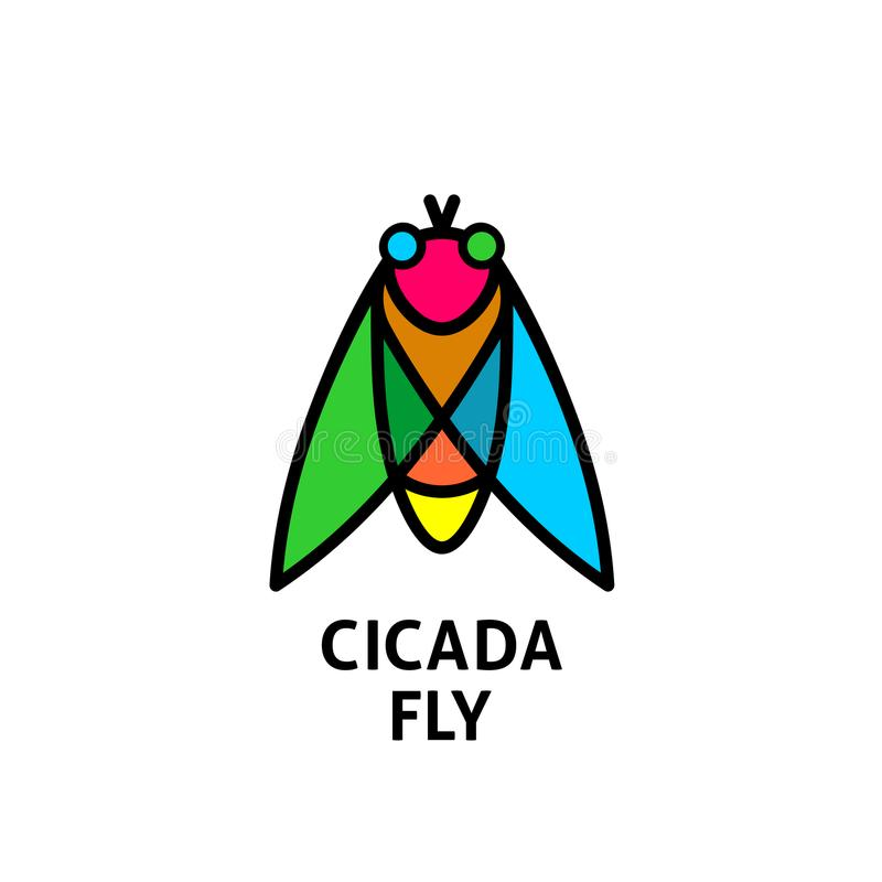 Free Cicada Colorful Symbol. Insect Top View Logo. Royalty Free Stock Photo - 104763005
