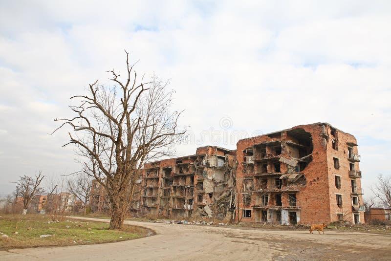 Cicatrizes da guerra em Grozny, Chechn imagem de stock royalty free