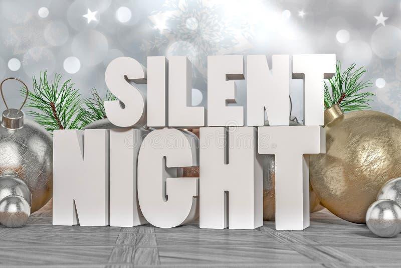 Cichy nocy 3D tekst royalty ilustracja