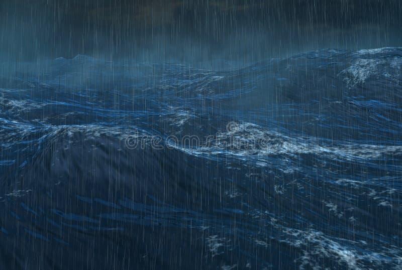 Ciclón lluvioso tropical en el océano stock de ilustración