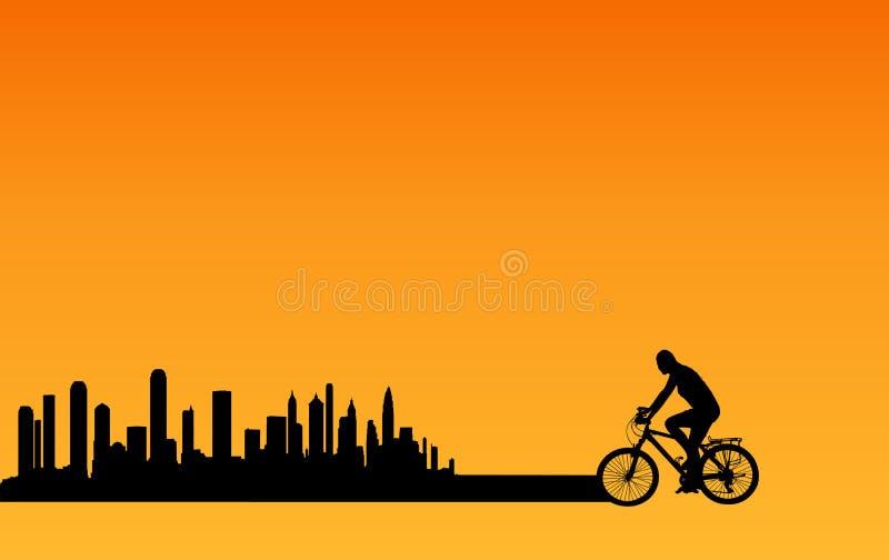 Ciclagem da cidade ilustração do vetor