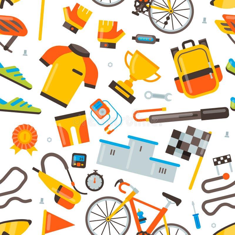 Ciclagem em acess?rios da bicicleta do vetor da bicicleta do motociclista ou do ciclista na roupa do desgaste dos esportes com gr ilustração do vetor