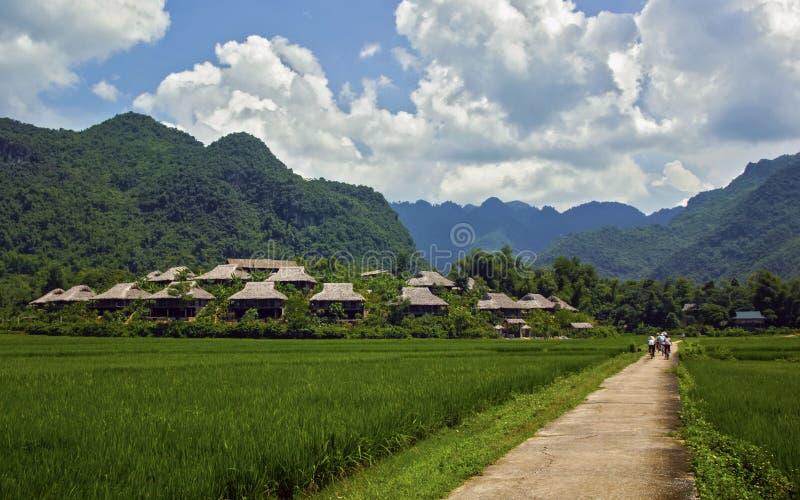 Ciclagem em Mai Chau foto de stock royalty free