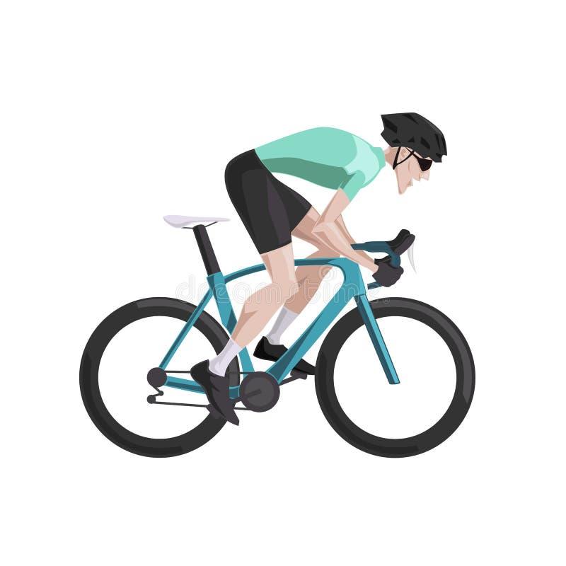 Ciclando, bici di guida del ciclista della strada del fumetto royalty illustrazione gratis