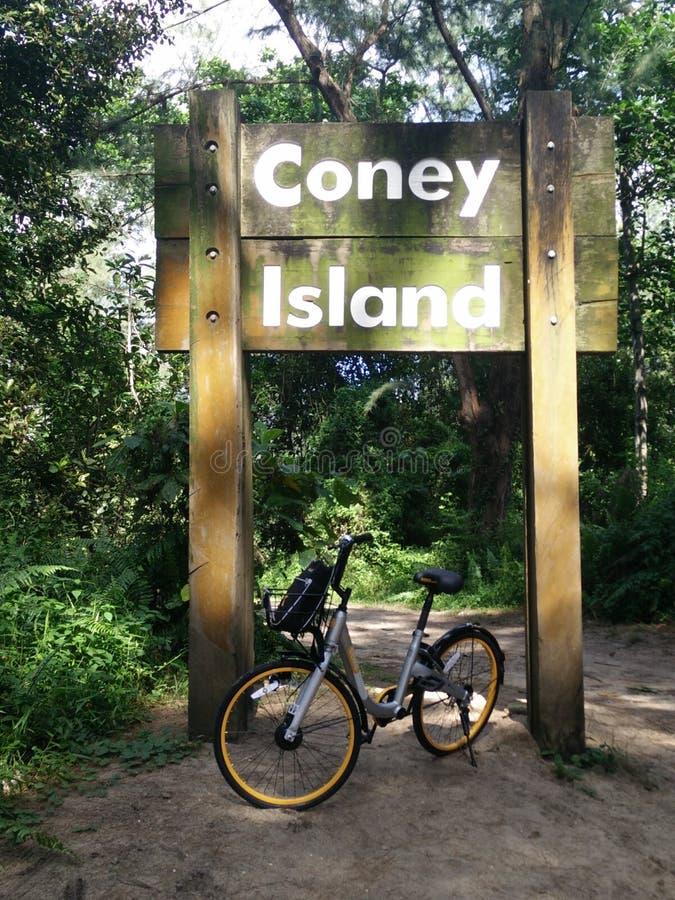 Ciclando in Coney Island fotografia stock