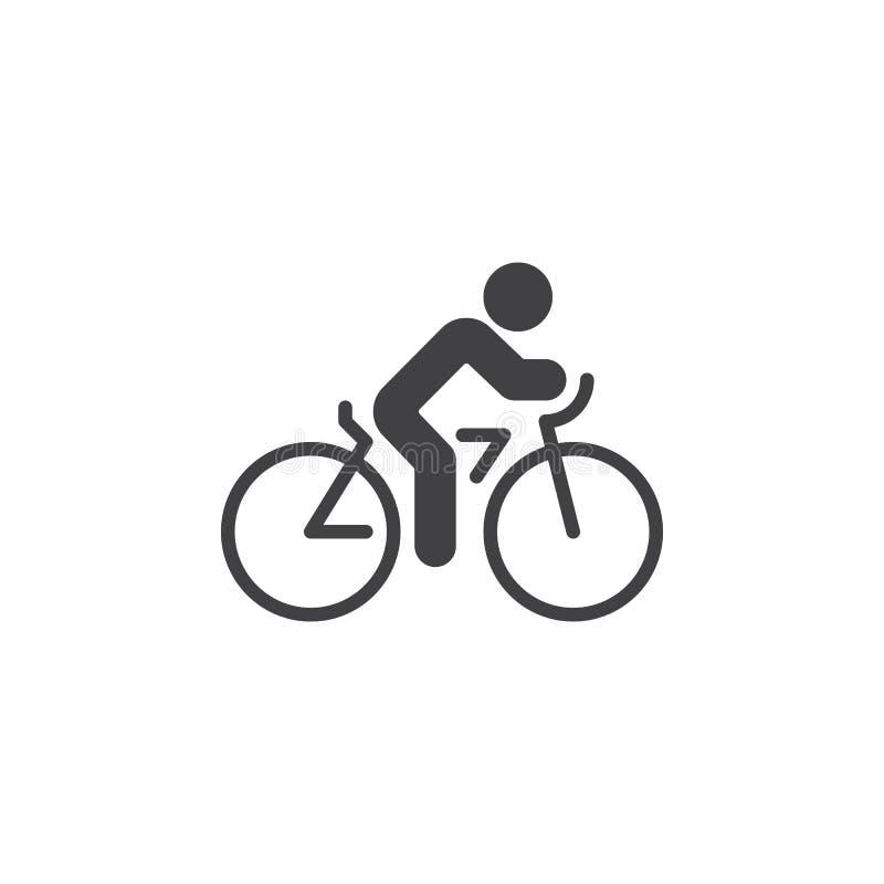 Ciclando il vettore dell'icona, vada in bicicletta il segno piano solido, pittogramma isolato su bianco royalty illustrazione gratis