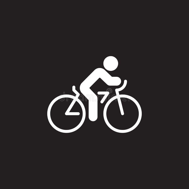Ciclando il vettore dell'icona, vada in bicicletta il segno piano solido, pittogramma isolato sul nero royalty illustrazione gratis