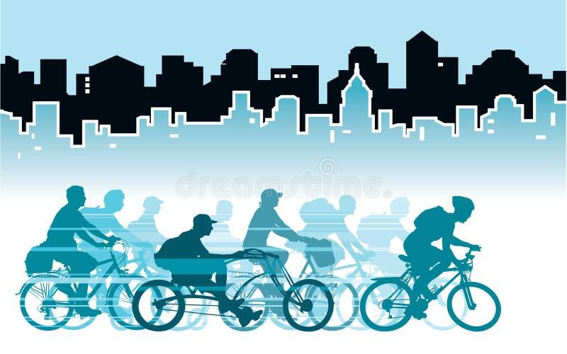 Ciclando nella città illustrazione vettoriale