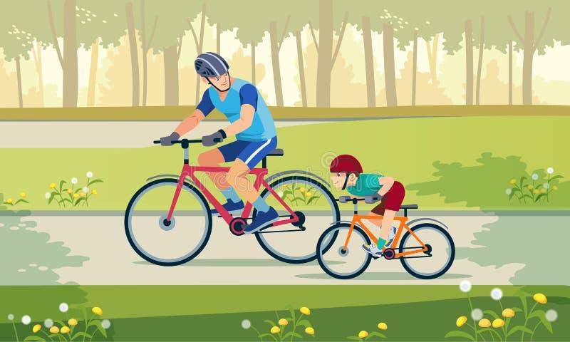 Ciclatura Festività attive Padre e figlio vanno in bici nel parco Una famiglia felice va in bici all'aperto e sorride fotografia stock